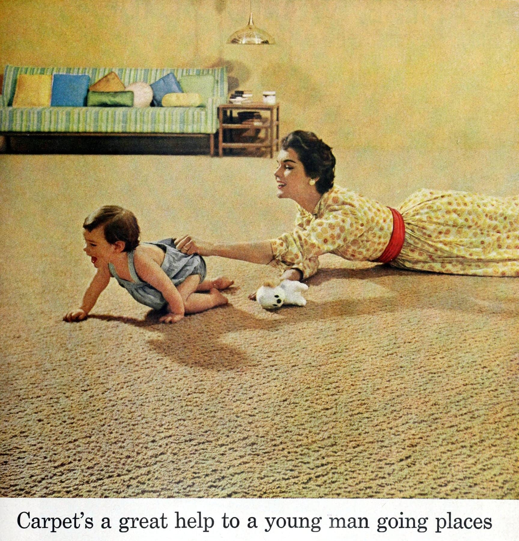 Beige vintage textured wall-to-wall carpeting (1958)