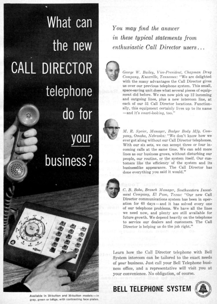 Bell Telephone office Call Director system (1960)