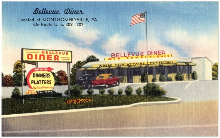 Bellevue Diner, located at Montgomeryville, PA., on Route U.S. 310 - 202