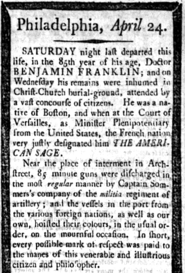 Founding Father Benjamin Franklin obituary