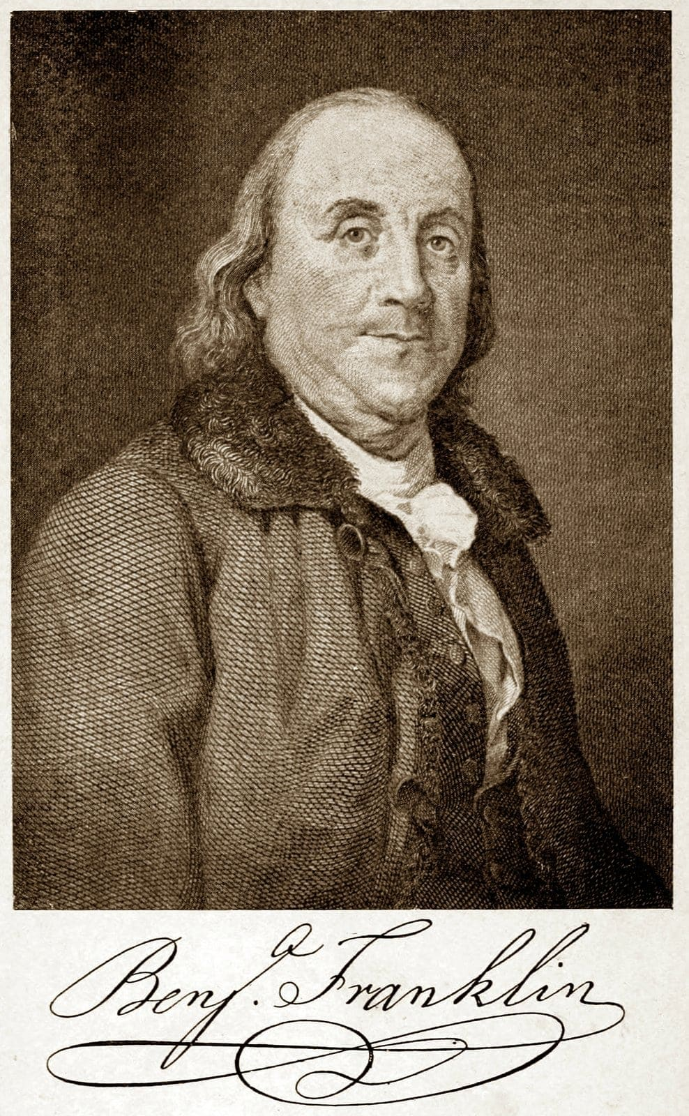 Benjamin Franklin portrait and signature