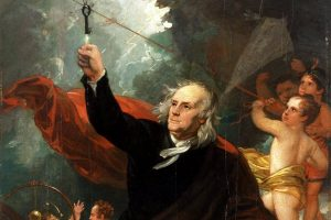 Benjamin Franklin with kite and key - electricity
