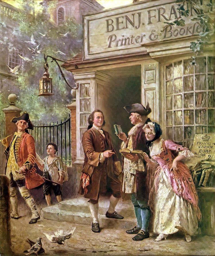 Benjamin Franklin's Bookshop 1745 - Art by JLG Gerris