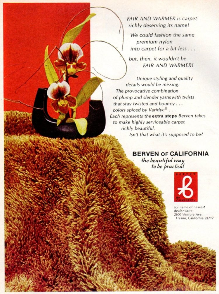 Berven of California shag carpet premium nylon 1972