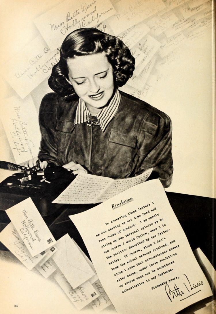 Bette Davis advice - Dec 1942