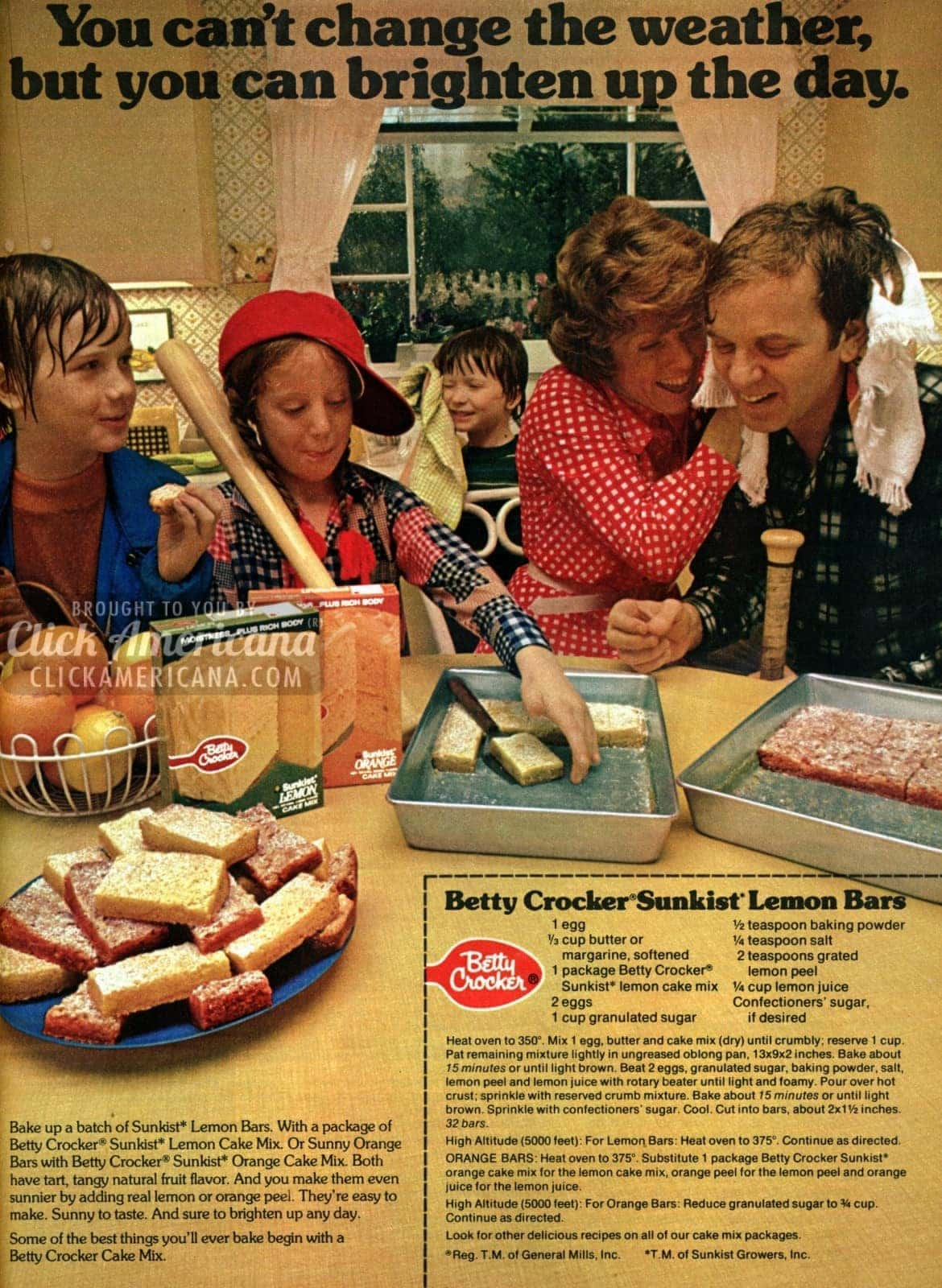 Make some Betty Crocker Sunkist Lemon Bars (1974)