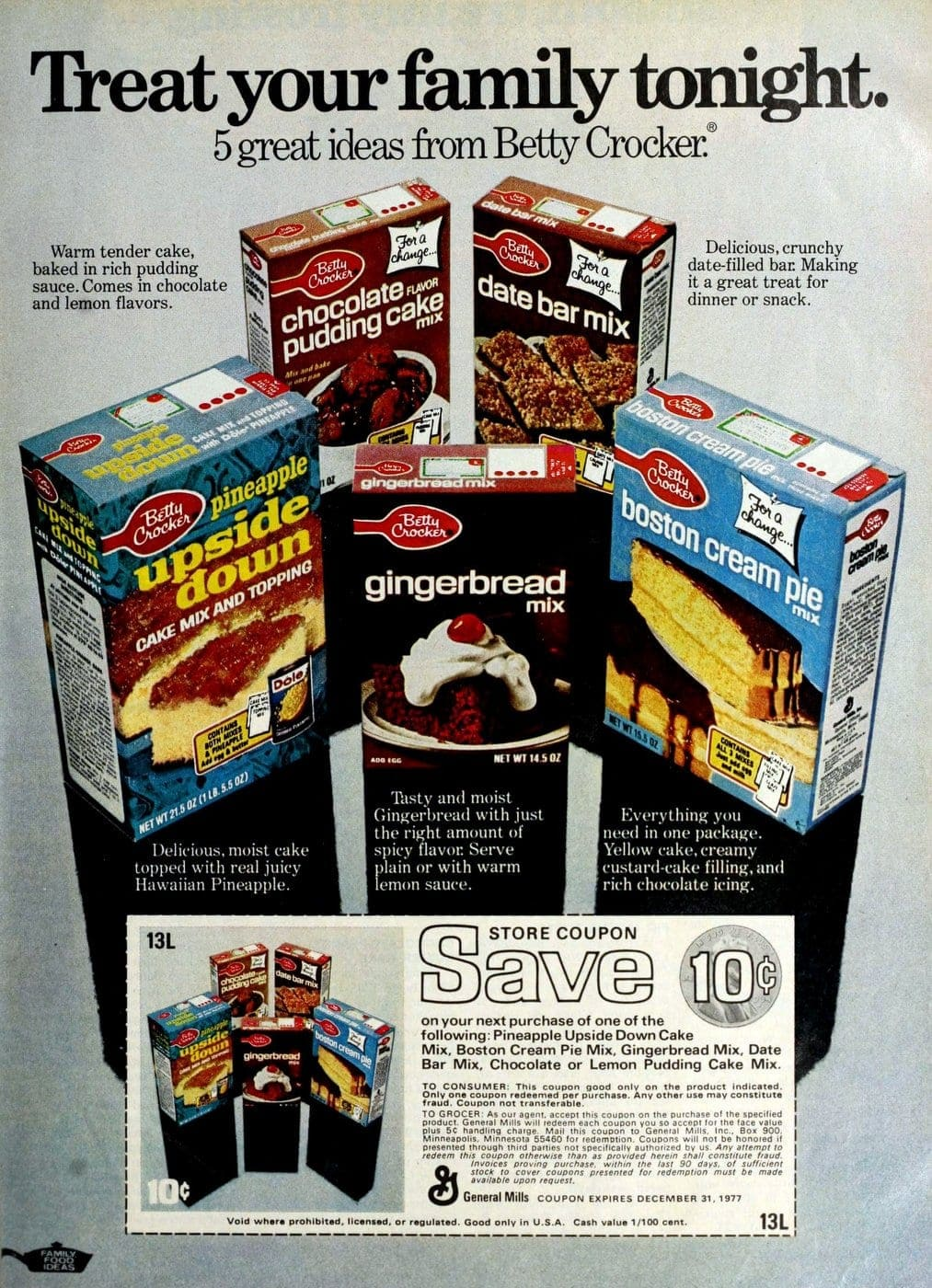 Betty Crocker cake mixes from 1976