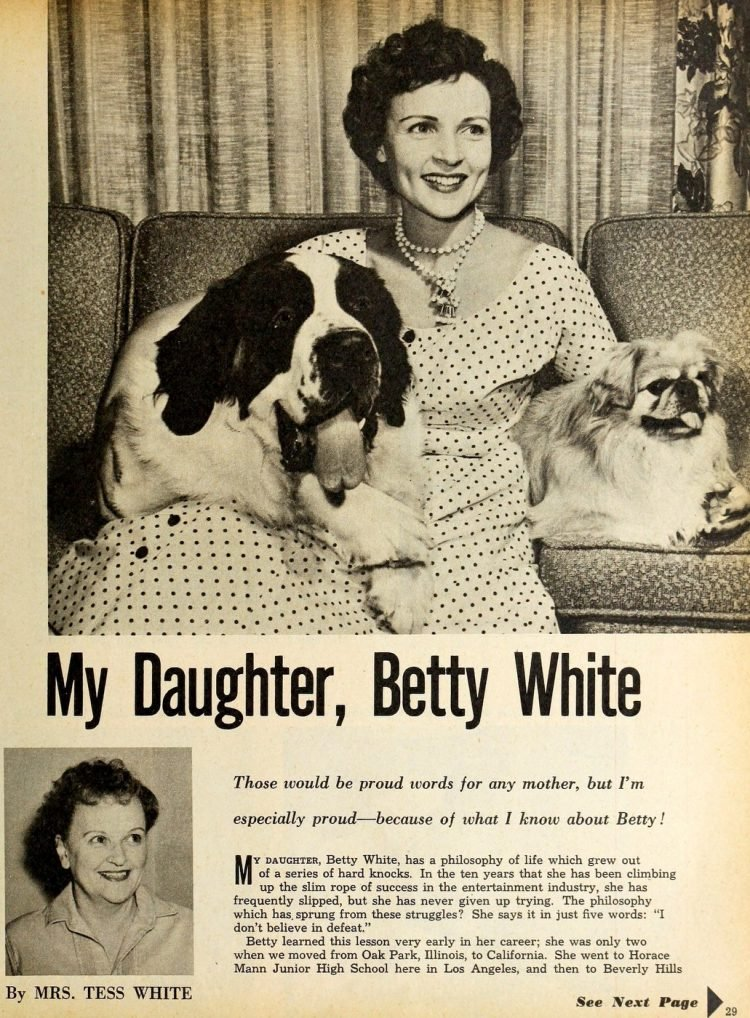 Betty White and her mom Tess in 1954