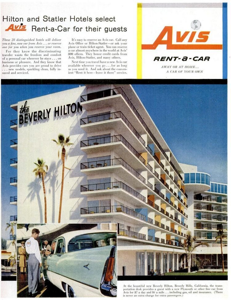 Beverly Hilton hotel and Avis Rent-a-Car - 1956