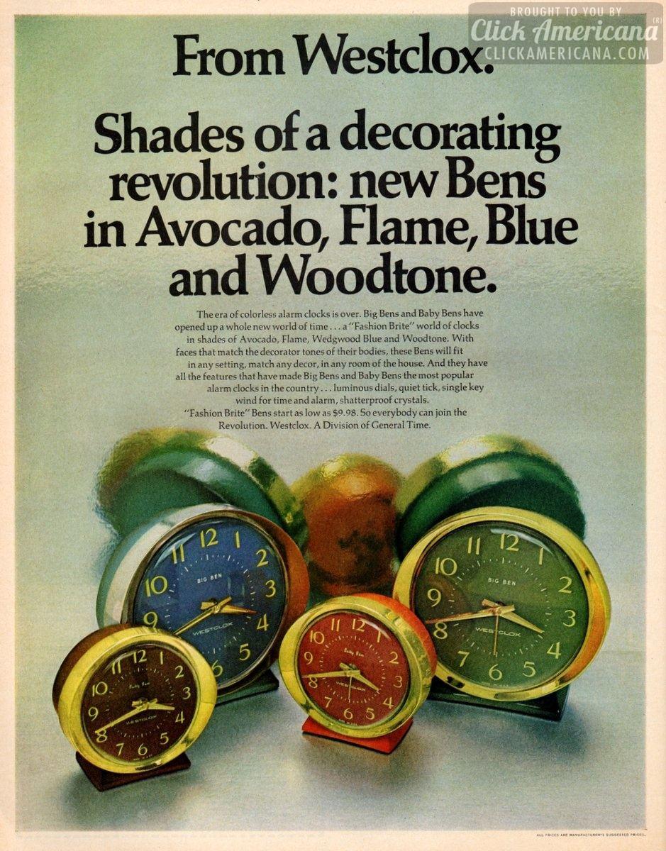 Fashion Brite Westclox alarm clocks (1970)