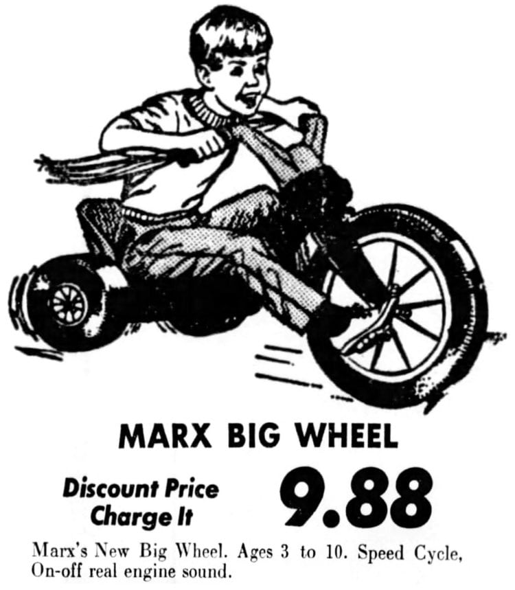 Early vintage Big Wheel ad from 1969