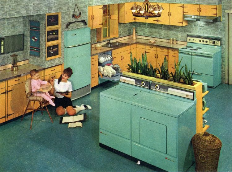 Big aqua retro kitchen from 1960 with washer and dryer island