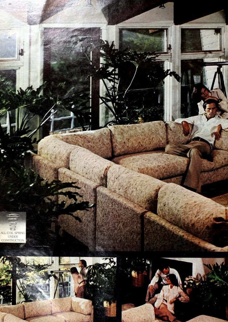 Big brown and beige couch from the 1970s