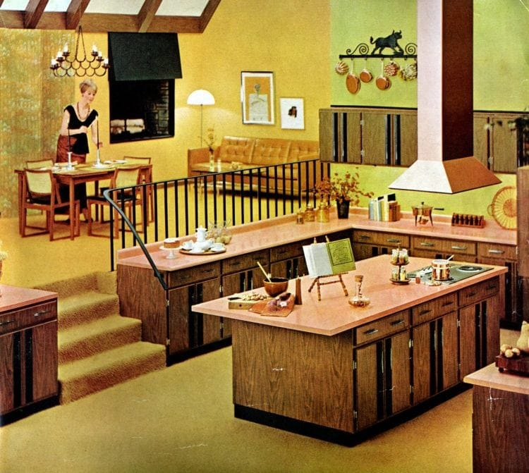 Big open kitchen area with split-level dining area and living room - Vintage interior decor from 1966