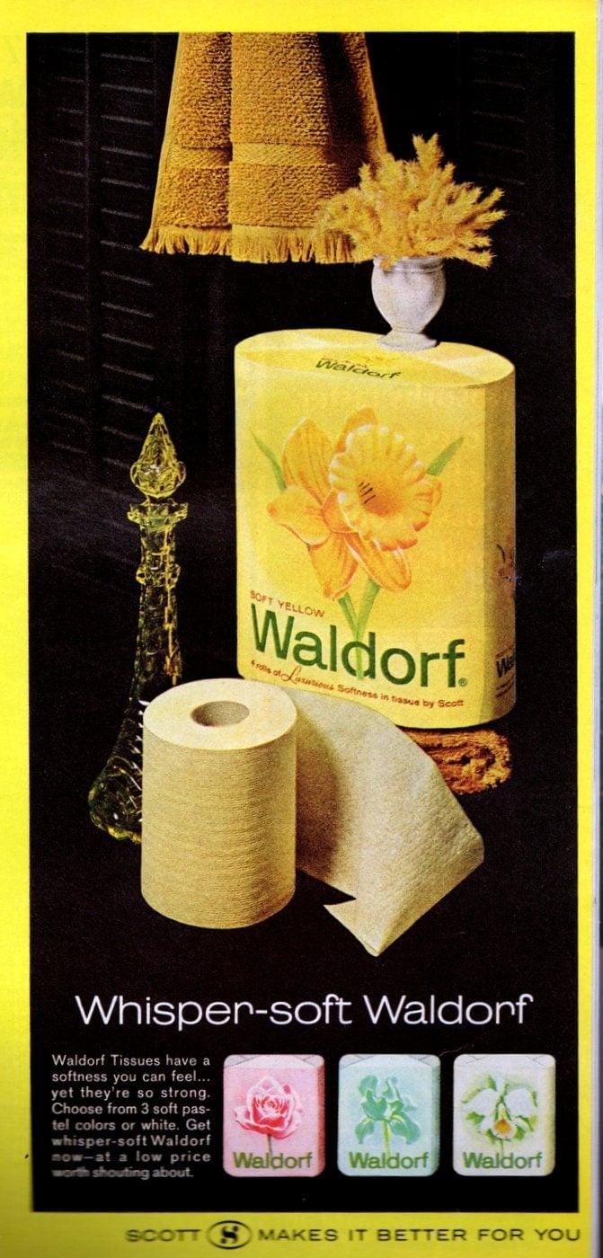 Big rolls of vintage Waldorf toilet paper in pastel colors - 1966