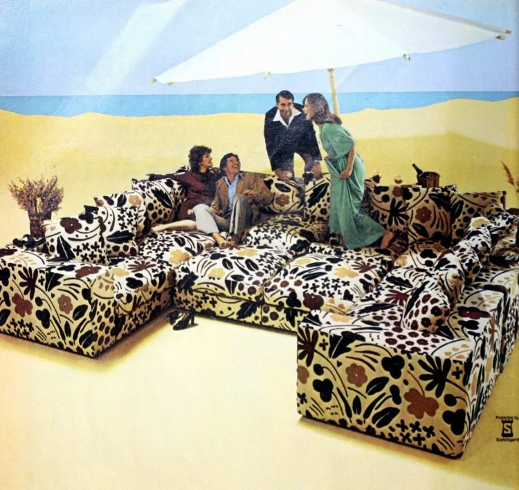 Big vintage wrap-around sofa with bed-like area - from the 1970s
