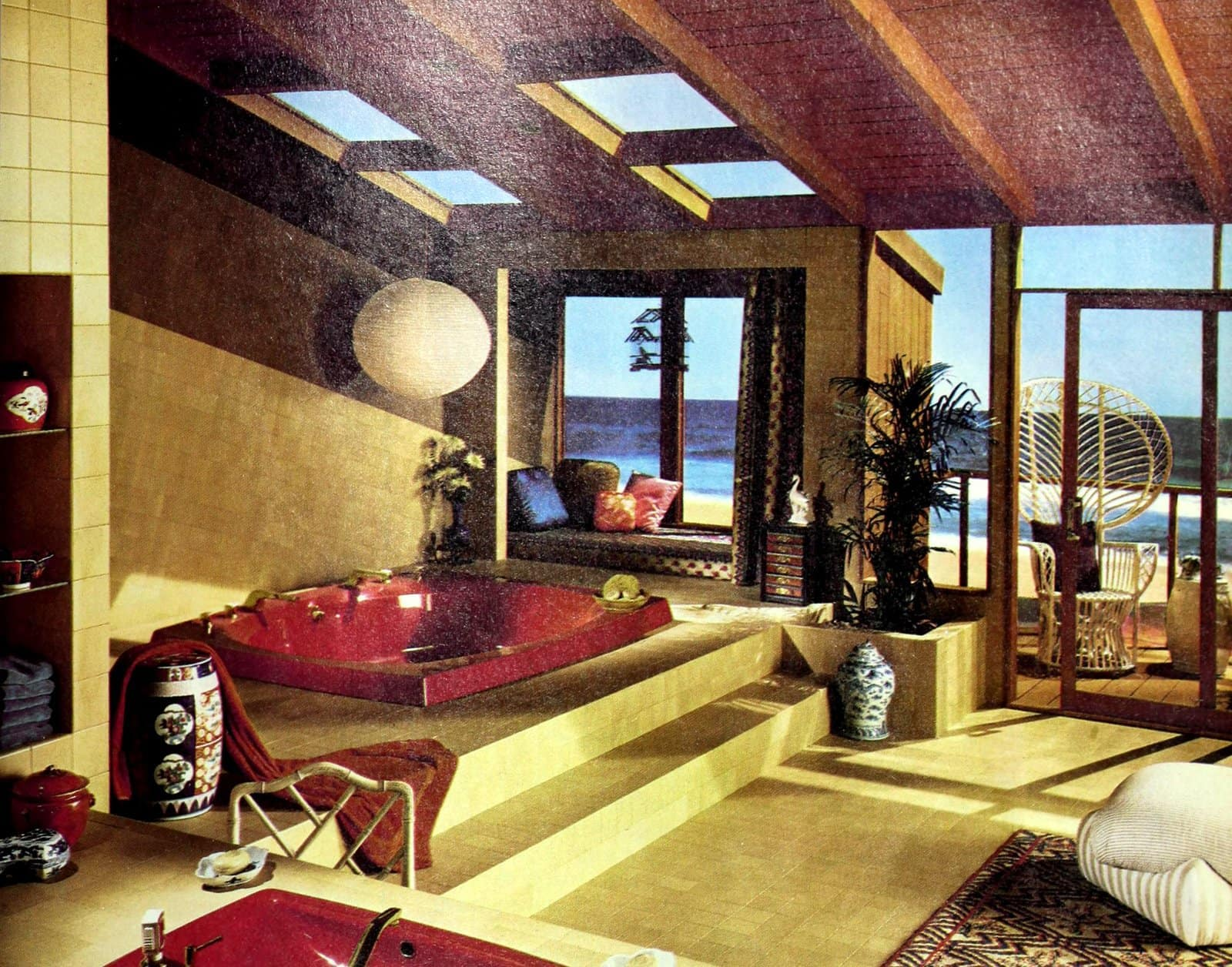 Big yellow and red bathroom with skylights (1981)