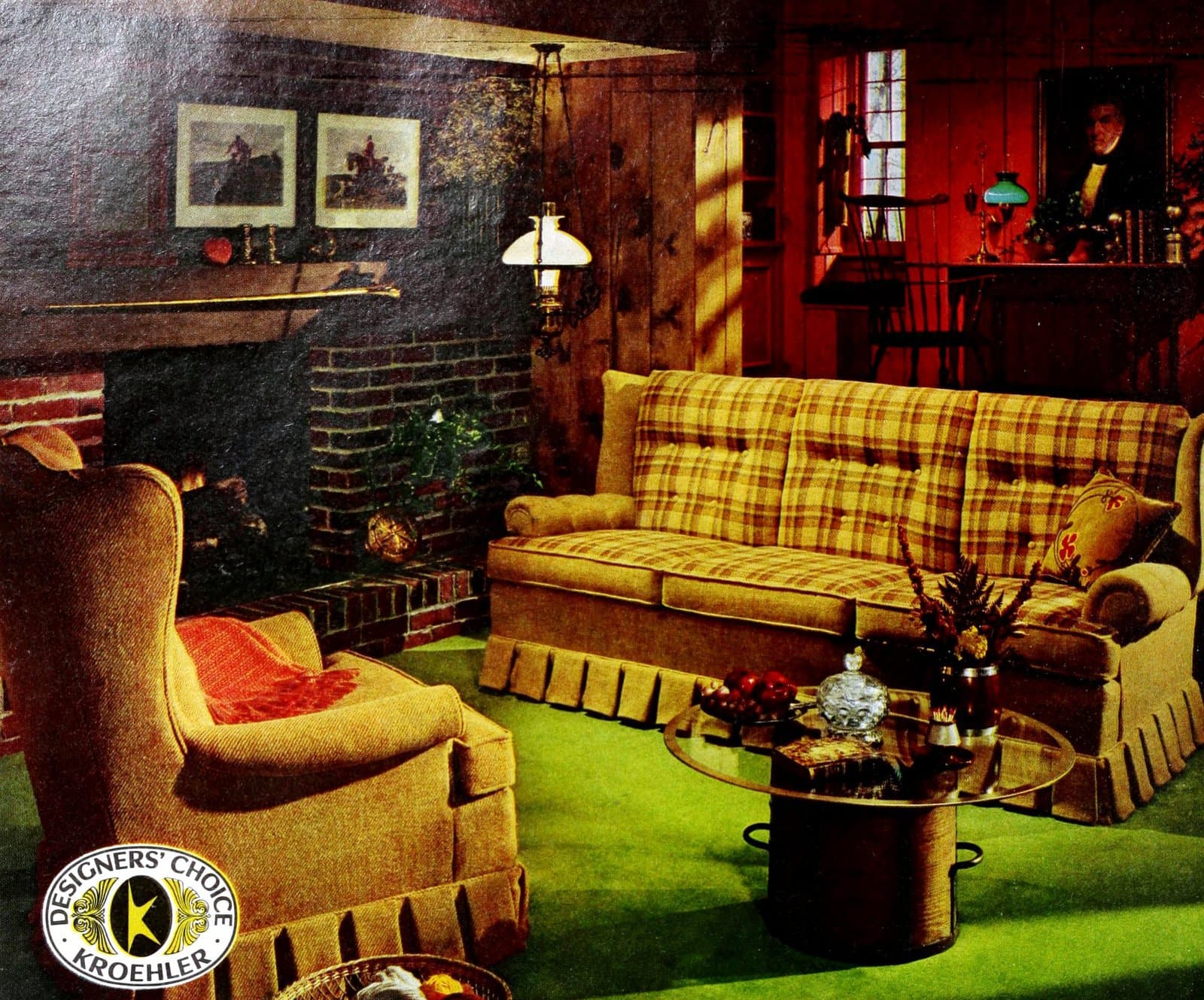 Big yellow vintage sofa with matching easy chair (1969)