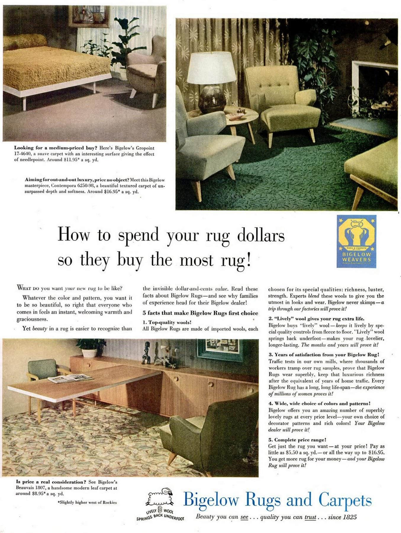 Bigelow rugs and carpets from 1948
