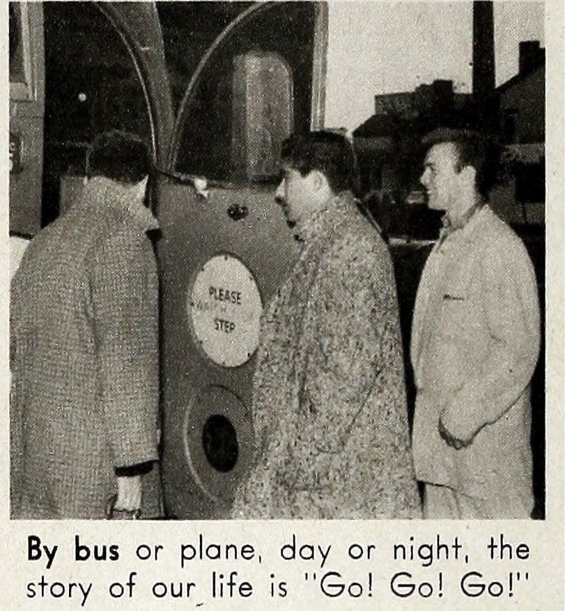 Bill Haley and the Comets - Vintage tour bus 1950s - By bus or plane, day or night, the story of our life is Go! Go! Go!
