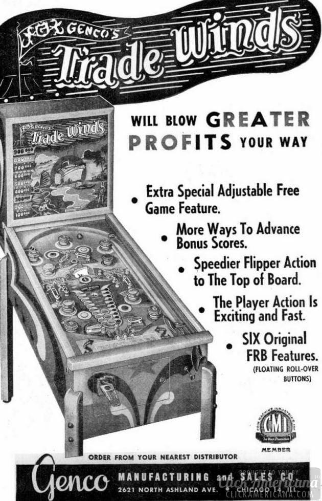 Trade Winds pinball machine