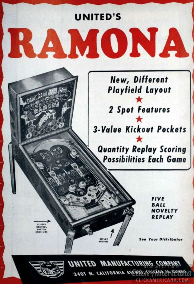 Ramona pinball machine (1949)