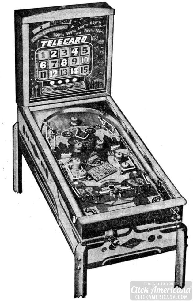 Telecard vintage pinball machine
