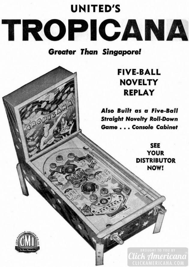 Tropicana pinball machine game