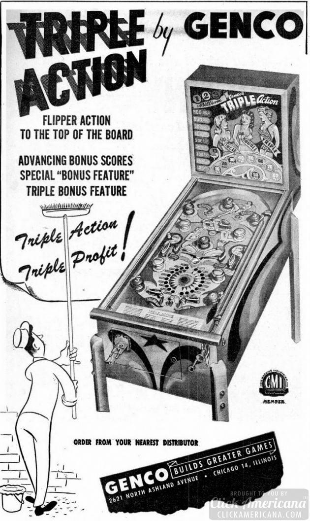 Triple action pinball