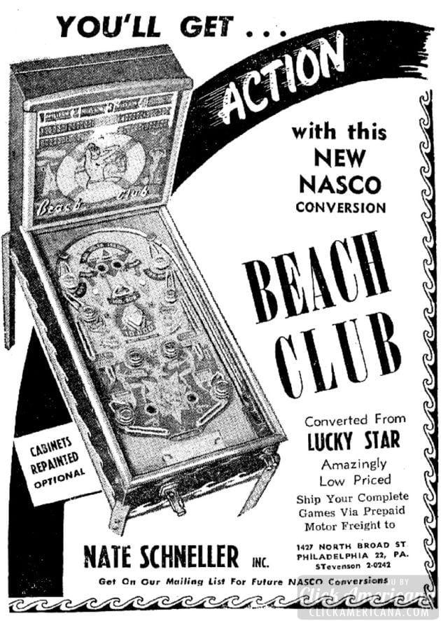 Beach Club pinball arcade game