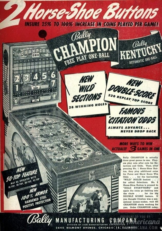 Bally vintage pinball games