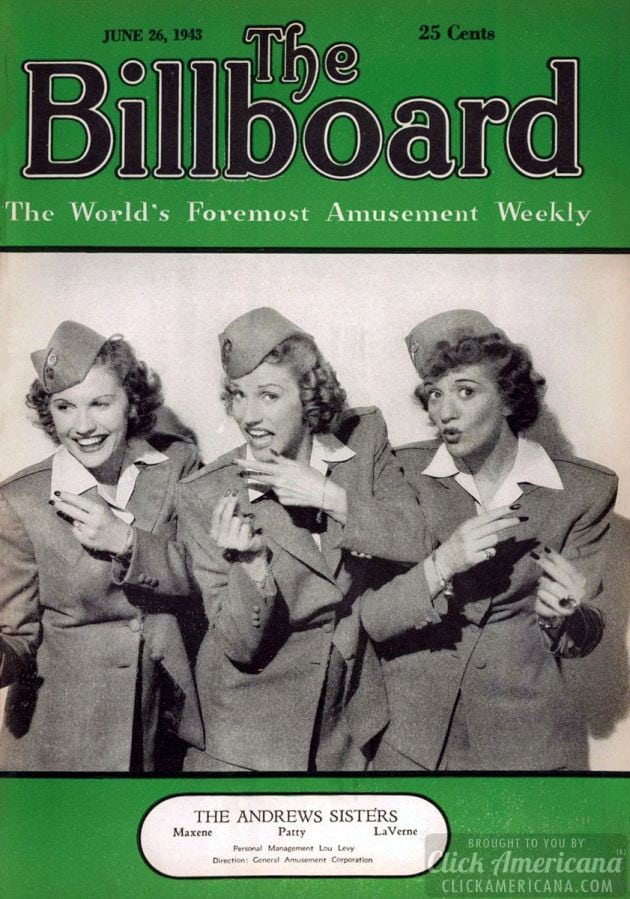 The Andrews Sisters on the cover of Billboard (1943)