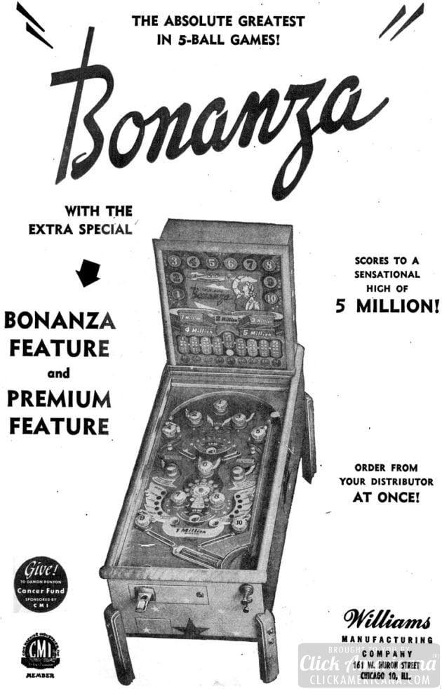 Bonanza pinball game