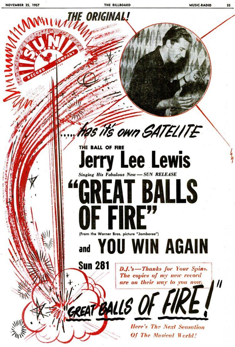 Billboard Nov 25, 1957 Jerry Lee Lewis Great Balls of Fire