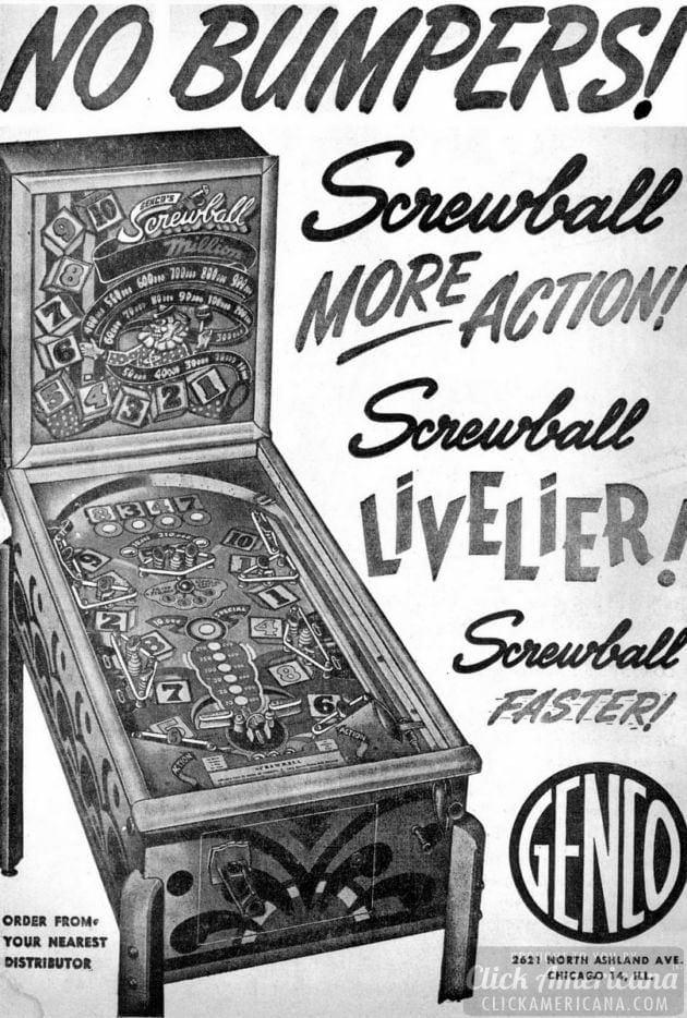Screwball livelier pinball game