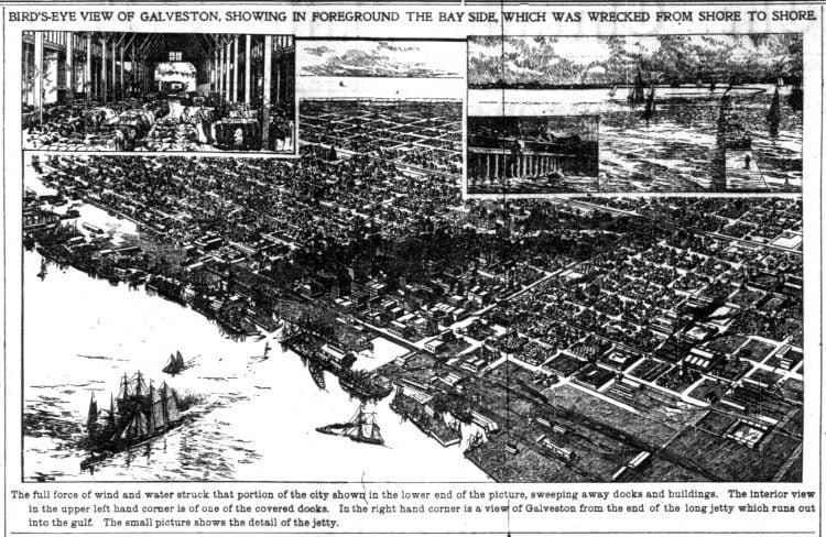 Bird's-eye view of Galveston 1900