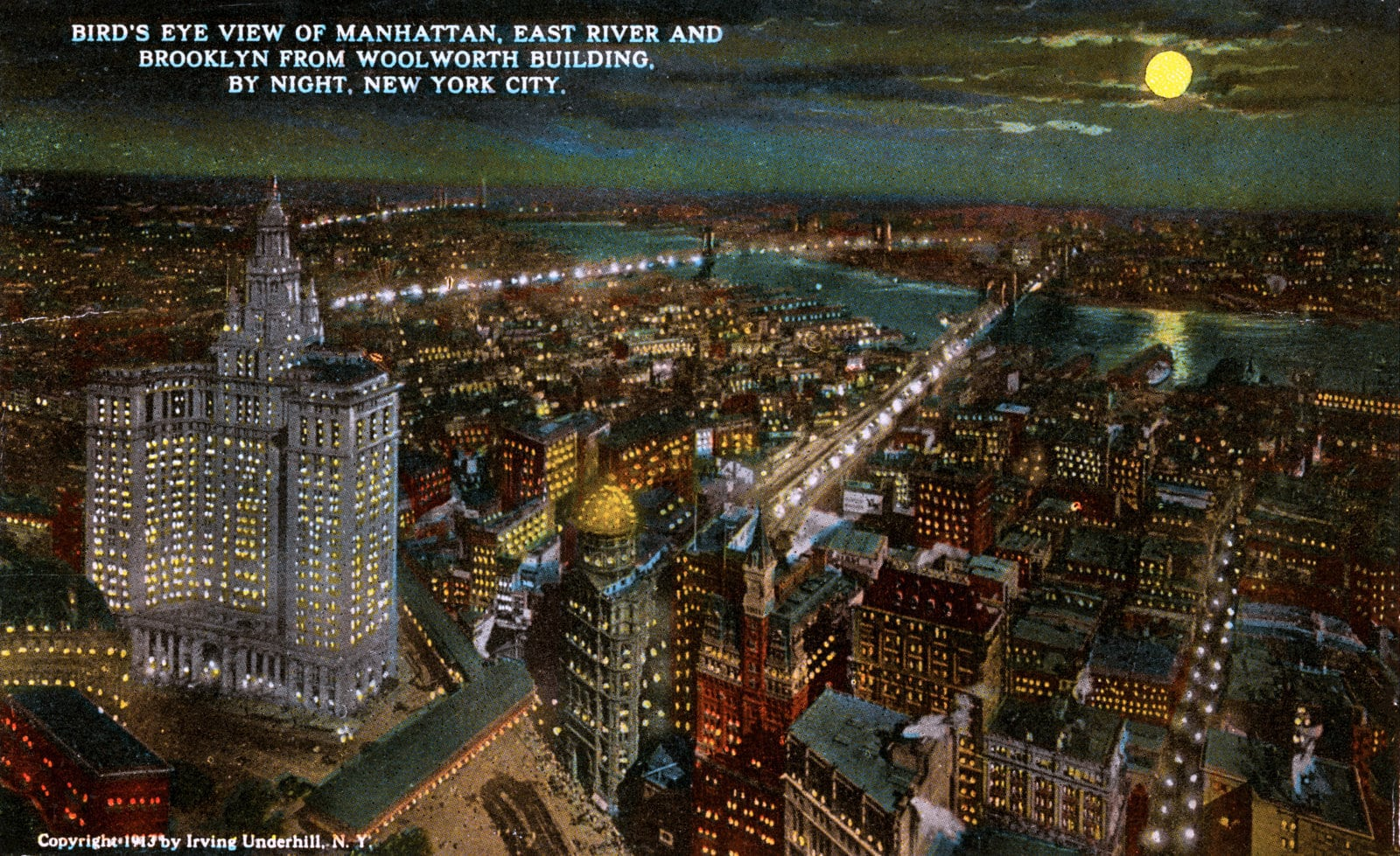 Bird's eye view of Manhattan, East River and Brooklyn from Woolworth Building, by night, New York City (1913)