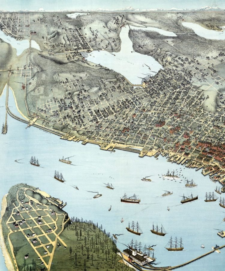 Birds-eye-view of Seattle and environs King County, Wash., 1891