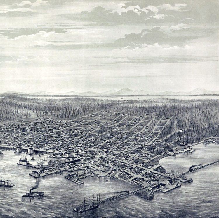 Bird's eye view of the city of Seattle, Puget Sound, Washington Territory, 1878-001