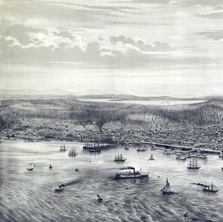 Bird's eye view of the city of Seattle, Puget Sound, Washington Territory, 1878