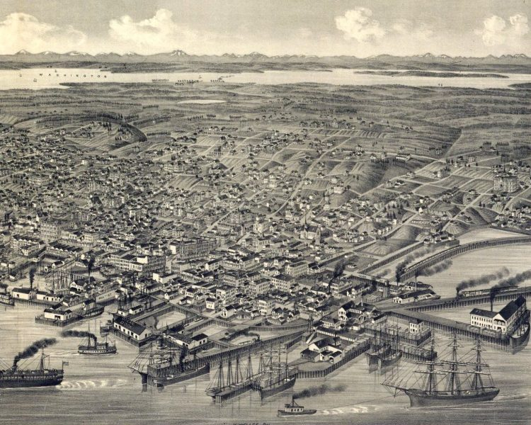 Bird's eye view of the city of Seattle, Puget Sound, county seat of King County 1884-001