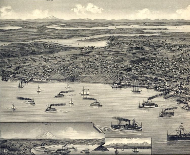 Bird's eye view of the city of Seattle, Puget Sound, county seat of King County 1884