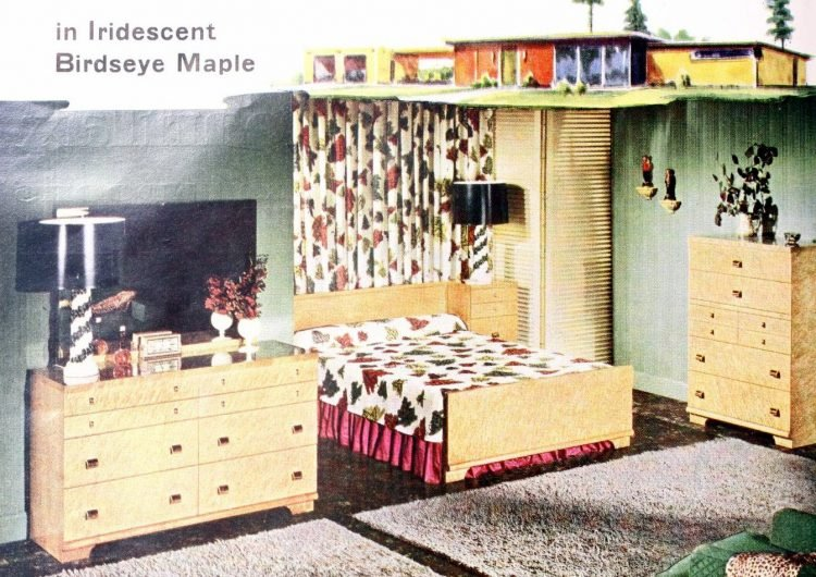 Birdseye maple furniture in vintage 1950s master bedroom