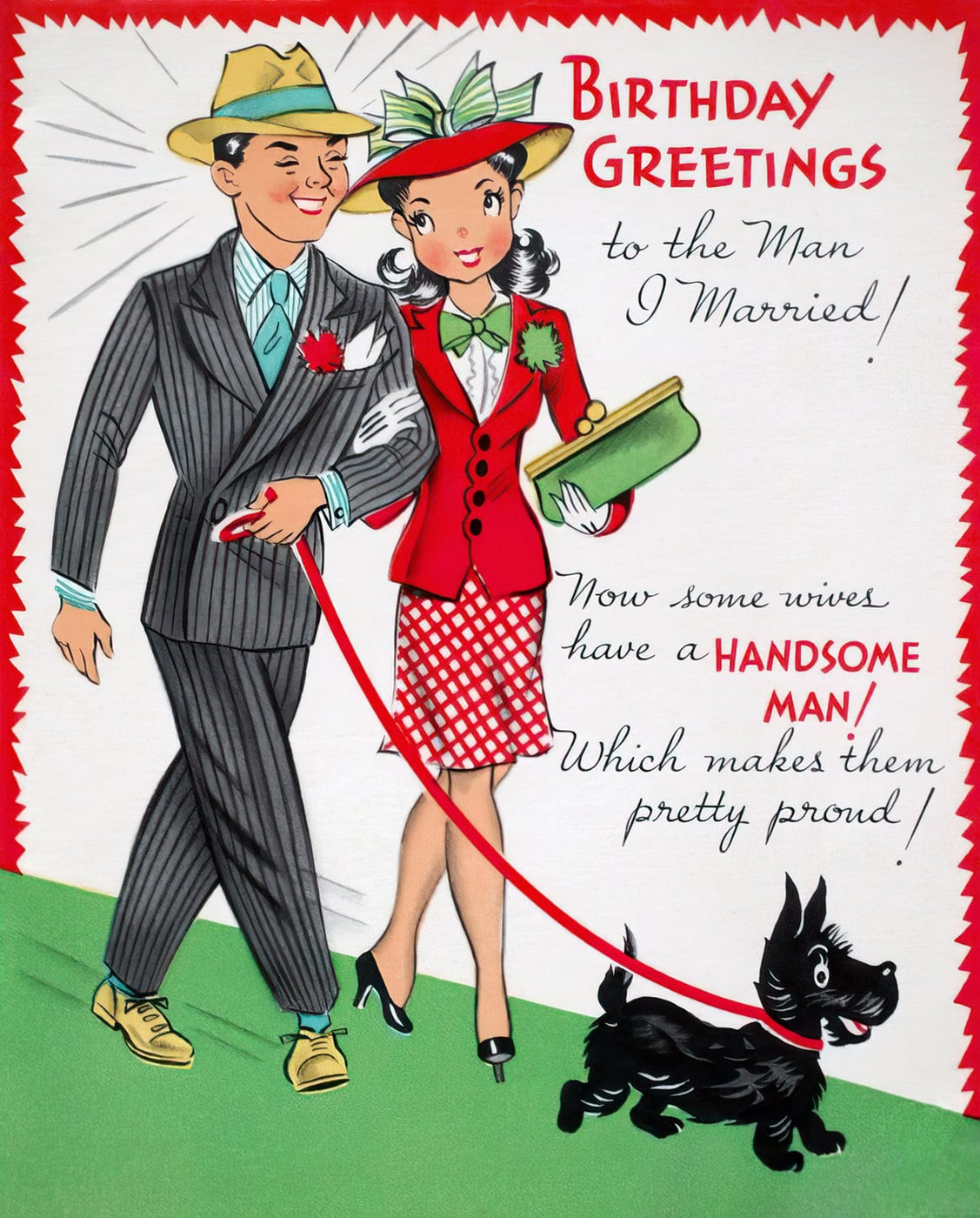 Birthday greetings to the man I married - Vintage 1940s card