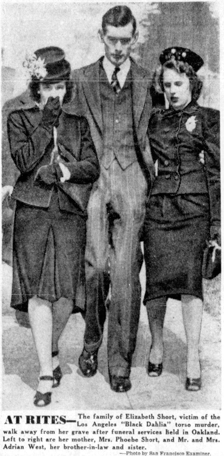 Black Dahlia - Elizabeth Short funeral services in Oakland - January 26 1947