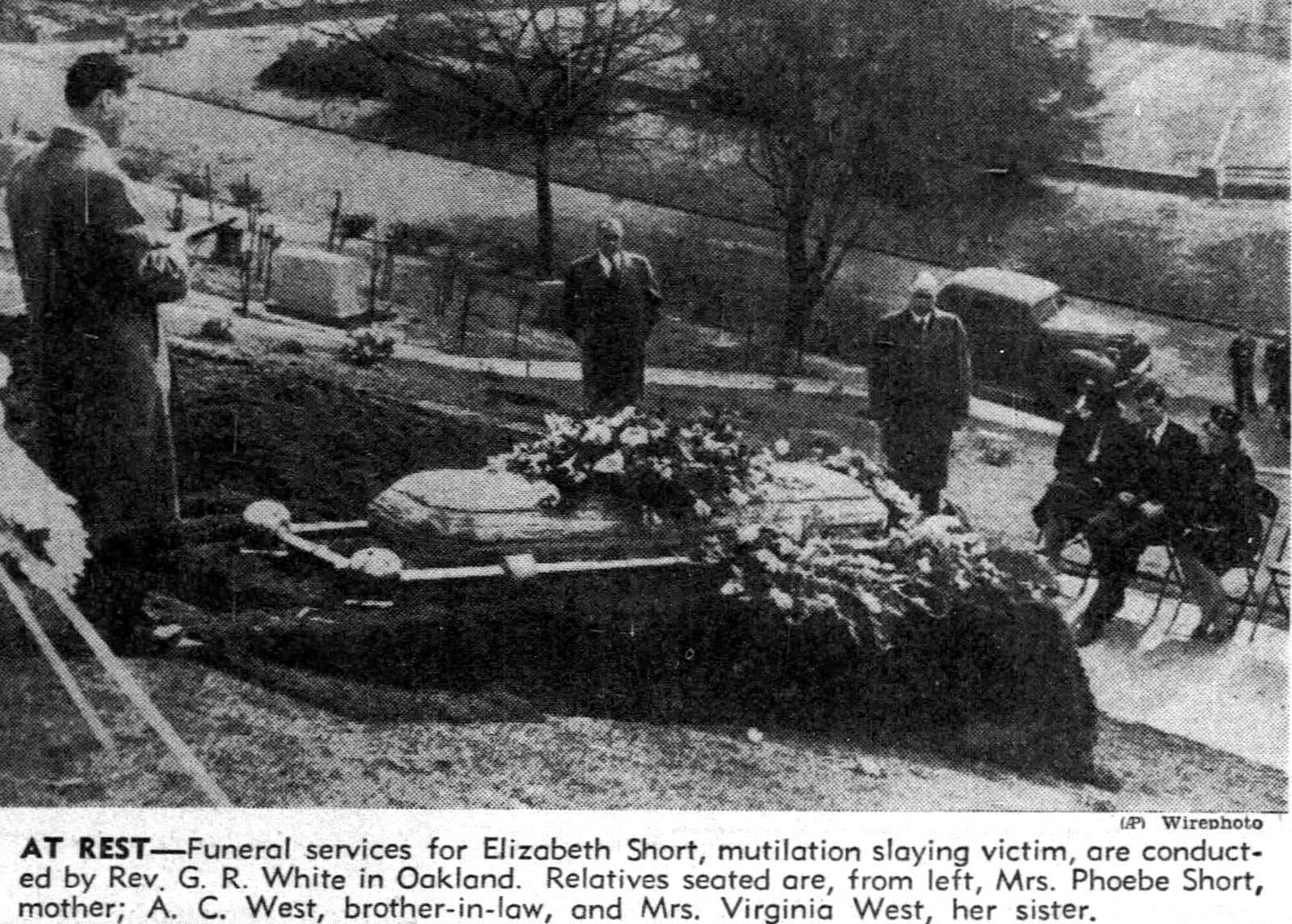 Black Dahlia - Elizabeth Short graveside funeral services in Oakland - January 26 1947