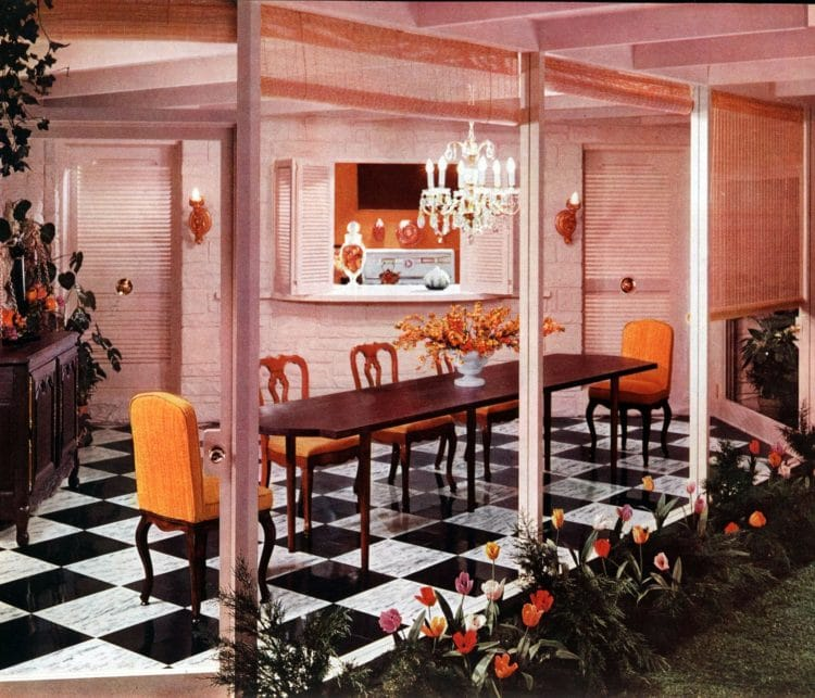 Black and white checkerboard floor in dining room - vintage home decor