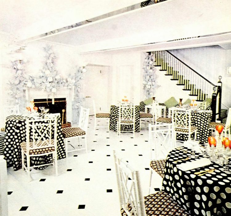 Black and white party table settings from 1972