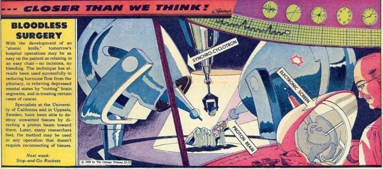 Bloodless surgery- Futuristic vintage cartoon