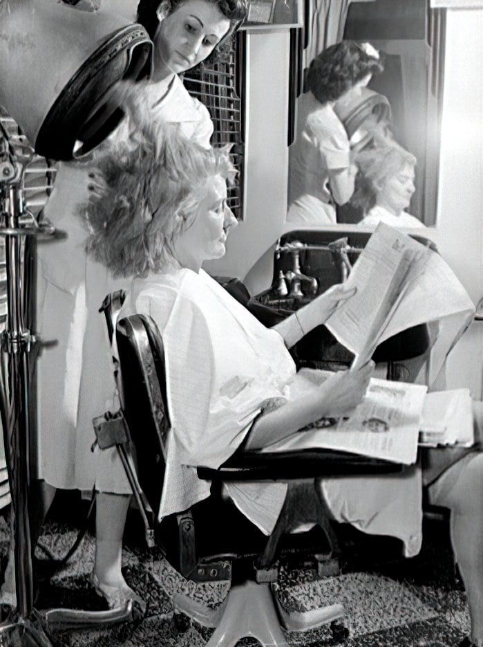 Blow drying the hair at a vintage forties salon